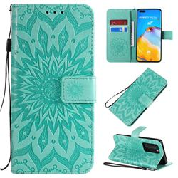 Embossing Sunflower Leather Wallet Case for Huawei P40 Pro - Green