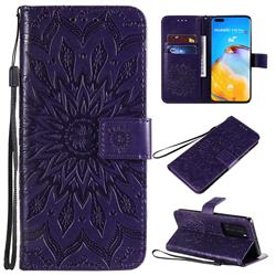 Embossing Sunflower Leather Wallet Case for Huawei P40 Pro - Purple