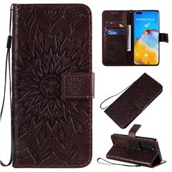 Embossing Sunflower Leather Wallet Case for Huawei P40 Pro - Brown