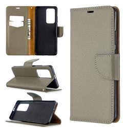 Classic Luxury Litchi Leather Phone Wallet Case for Huawei P40 Pro - Gray