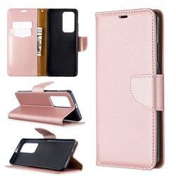 Classic Luxury Litchi Leather Phone Wallet Case for Huawei P40 Pro - Golden