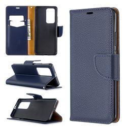Classic Luxury Litchi Leather Phone Wallet Case for Huawei P40 Pro - Blue