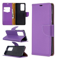 Classic Luxury Litchi Leather Phone Wallet Case for Huawei P40 Pro - Purple