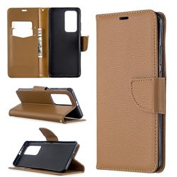 Classic Luxury Litchi Leather Phone Wallet Case for Huawei P40 Pro - Brown