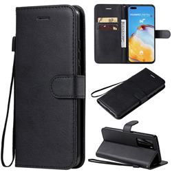 Retro Greek Classic Smooth PU Leather Wallet Phone Case for Huawei P40 Pro - Black