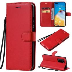 Retro Greek Classic Smooth PU Leather Wallet Phone Case for Huawei P40 Pro - Red