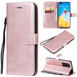 Retro Greek Classic Smooth PU Leather Wallet Phone Case for Huawei P40 Pro - Rose Gold