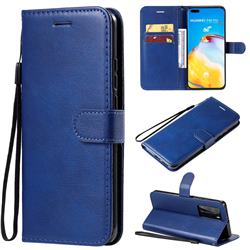 Retro Greek Classic Smooth PU Leather Wallet Phone Case for Huawei P40 Pro - Blue