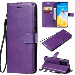 Retro Greek Classic Smooth PU Leather Wallet Phone Case for Huawei P40 Pro - Purple
