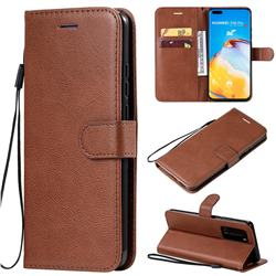 Retro Greek Classic Smooth PU Leather Wallet Phone Case for Huawei P40 Pro - Brown