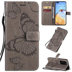 Embossing 3D Butterfly Leather Wallet Case for Huawei P40 Pro - Gray