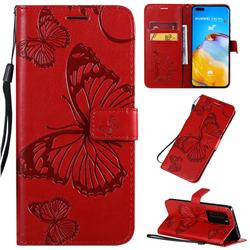 Embossing 3D Butterfly Leather Wallet Case for Huawei P40 Pro - Red