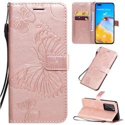 Embossing 3D Butterfly Leather Wallet Case for Huawei P40 Pro - Rose Gold
