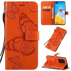 Embossing 3D Butterfly Leather Wallet Case for Huawei P40 Pro - Orange