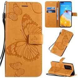 Embossing 3D Butterfly Leather Wallet Case for Huawei P40 Pro - Yellow
