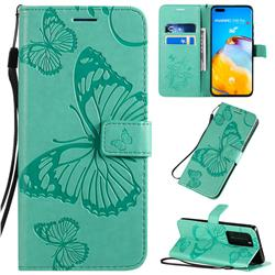 Embossing 3D Butterfly Leather Wallet Case for Huawei P40 Pro - Green
