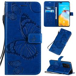 Embossing 3D Butterfly Leather Wallet Case for Huawei P40 Pro - Blue