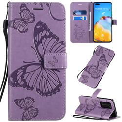 Embossing 3D Butterfly Leather Wallet Case for Huawei P40 Pro - Purple