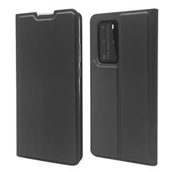 Ultra Slim Card Magnetic Automatic Suction Leather Wallet Case for Huawei P40 Pro - Star Grey