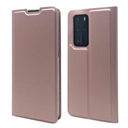 Ultra Slim Card Magnetic Automatic Suction Leather Wallet Case for Huawei P40 Pro - Rose Gold
