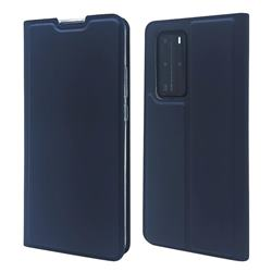 Ultra Slim Card Magnetic Automatic Suction Leather Wallet Case for Huawei P40 Pro - Royal Blue