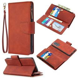 Binfen Color BF02 Sensory Buckle Zipper Multifunction Leather Phone Wallet for Huawei P40 Pro - Brown