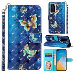 Rankine Butterfly 3D Leather Phone Holster Wallet Case for Huawei P40 Pro