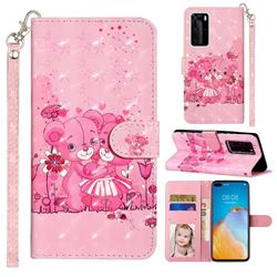 Pink Bear 3D Leather Phone Holster Wallet Case for Huawei P40 Pro