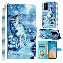 Snow Wolf 3D Leather Phone Holster Wallet Case for Huawei P40 Pro