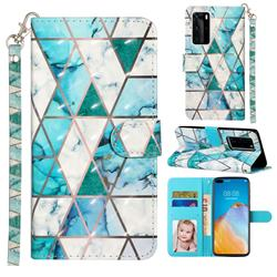 Stitching Marble 3D Leather Phone Holster Wallet Case for Huawei P40 Pro
