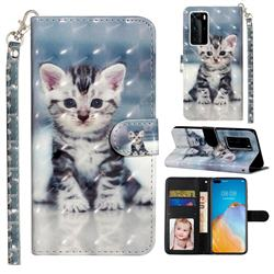Kitten Cat 3D Leather Phone Holster Wallet Case for Huawei P40 Pro