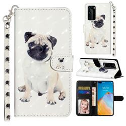 Pug Dog 3D Leather Phone Holster Wallet Case for Huawei P40 Pro