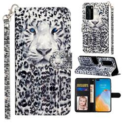White Leopard 3D Leather Phone Holster Wallet Case for Huawei P40 Pro