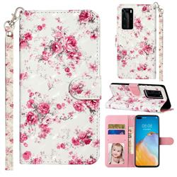 Rambler Rose Flower 3D Leather Phone Holster Wallet Case for Huawei P40 Pro