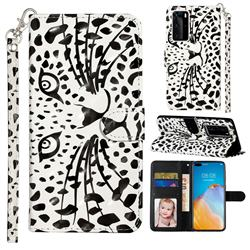 Leopard Panther 3D Leather Phone Holster Wallet Case for Huawei P40 Pro