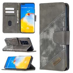 BinfenColor BF04 Color Block Stitching Crocodile Leather Case Cover for Huawei P40 Pro - Gray