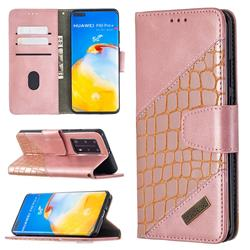 BinfenColor BF04 Color Block Stitching Crocodile Leather Case Cover for Huawei P40 Pro - Rose Gold