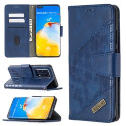 BinfenColor BF04 Color Block Stitching Crocodile Leather Case Cover for Huawei P40 Pro - Blue