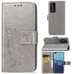 Embossing Imprint Four-Leaf Clover Leather Wallet Case for Huawei P40 Pro - Grey