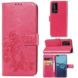 Embossing Imprint Four-Leaf Clover Leather Wallet Case for Huawei P40 Pro - Rose Red