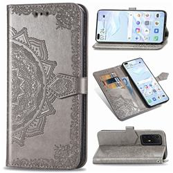 Embossing Imprint Mandala Flower Leather Wallet Case for Huawei P40 Pro - Gray