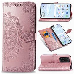 Embossing Imprint Mandala Flower Leather Wallet Case for Huawei P40 Pro - Rose Gold
