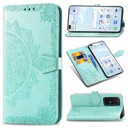 Embossing Imprint Mandala Flower Leather Wallet Case for Huawei P40 Pro - Green