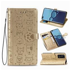 Embossing Dog Paw Kitten and Puppy Leather Wallet Case for Huawei P40 Pro - Champagne Gold