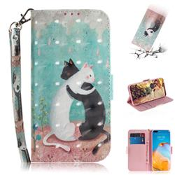 Black and White Cat 3D Painted Leather Wallet Phone Case for Huawei P40 Pro