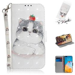 Cute Tomato Cat 3D Painted Leather Wallet Phone Case for Huawei P40 Pro