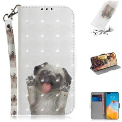 Pug Dog 3D Painted Leather Wallet Phone Case for Huawei P40 Pro