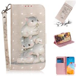 Three Squirrels 3D Painted Leather Wallet Phone Case for Huawei P40 Pro