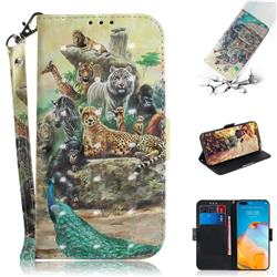 Beast Zoo 3D Painted Leather Wallet Phone Case for Huawei P40 Pro