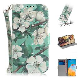 Watercolor Flower 3D Painted Leather Wallet Phone Case for Huawei P40 Pro
